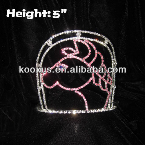Pink Horse Pageant Crowns With BLue Diamond