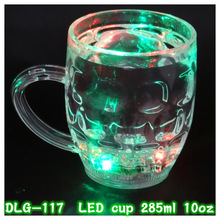 285ml beer drinking plastic mini beer mug shot glass with LED light flashing