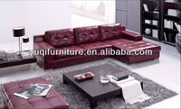 Modern Home / Office design L shaped Genuine Leather Corner Sofa with Chiase Longue new designs 2012 fabric sofa 8002-16