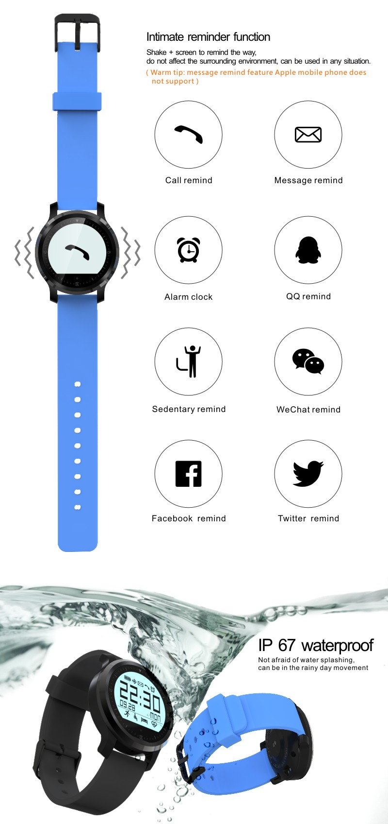 2017 China shenzhen suppliers high quality OEM custom own brand logo digital manufacturer cell phone talking men cheap watch
