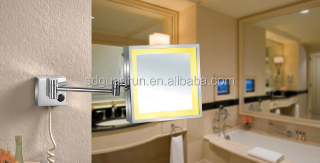 metal small shaving silver led hotel full length wall mirror with light illuminated