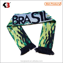 2016 Made in China manufacture colorful jacquard sport scarf custom your own design fans scarf black fringe sport fans scarf