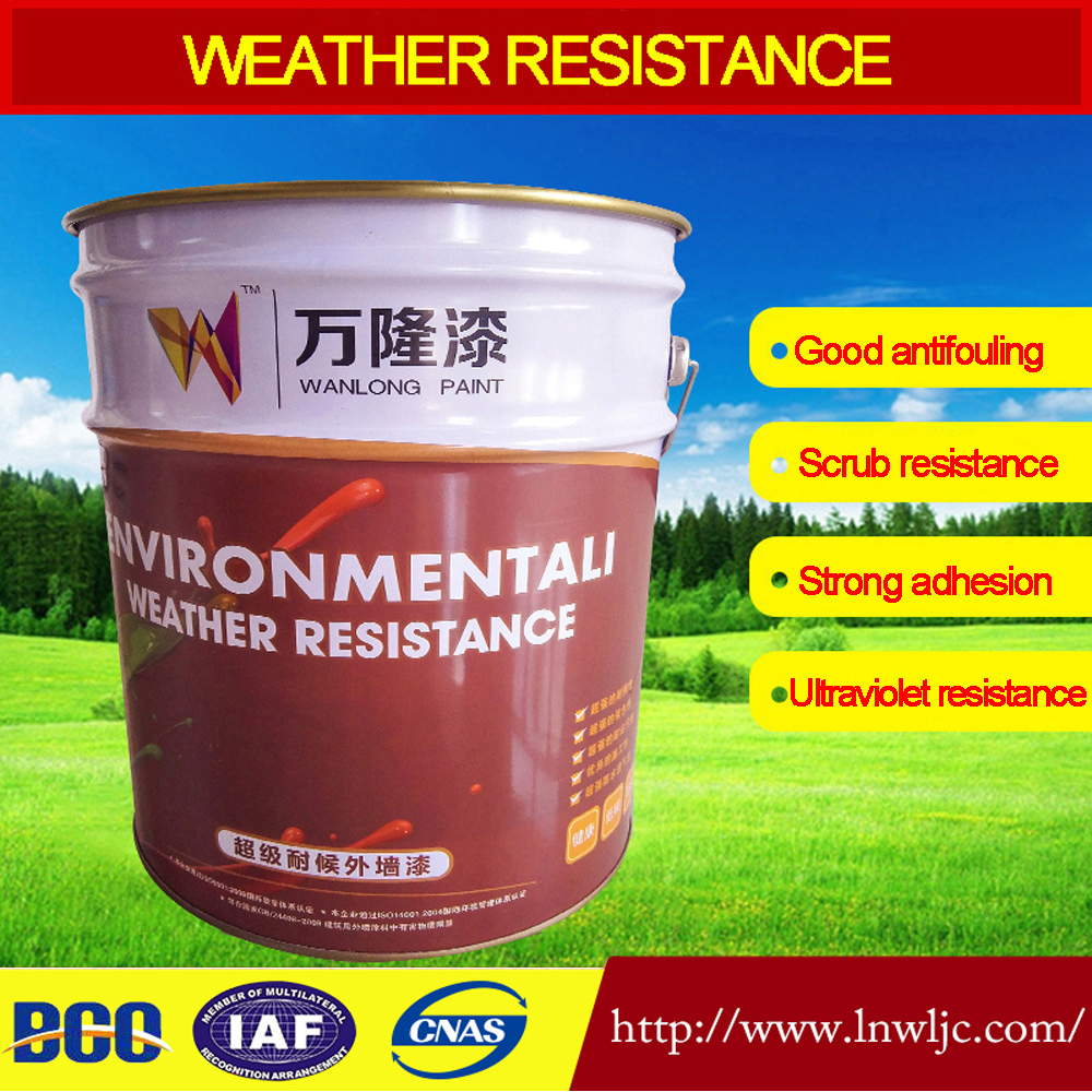 Building exterior wall coating Water based acrylic latex paint Weather resistance and waterproof