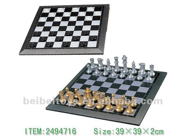 Magnetic Chess & Checkers, Gold & Silver Pieces