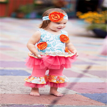 Hot sale 3 piece lovely flower dress ruffle top and pants baby clothes