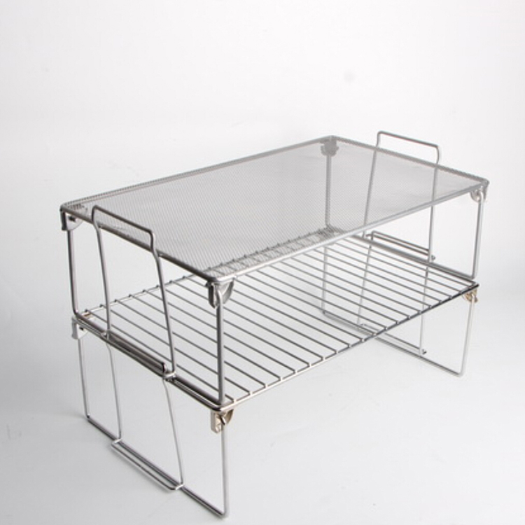 Chrome Plated Metal Wire Tier Stacking Folding Cabinet Shelf Folding Cabinet Organizer
