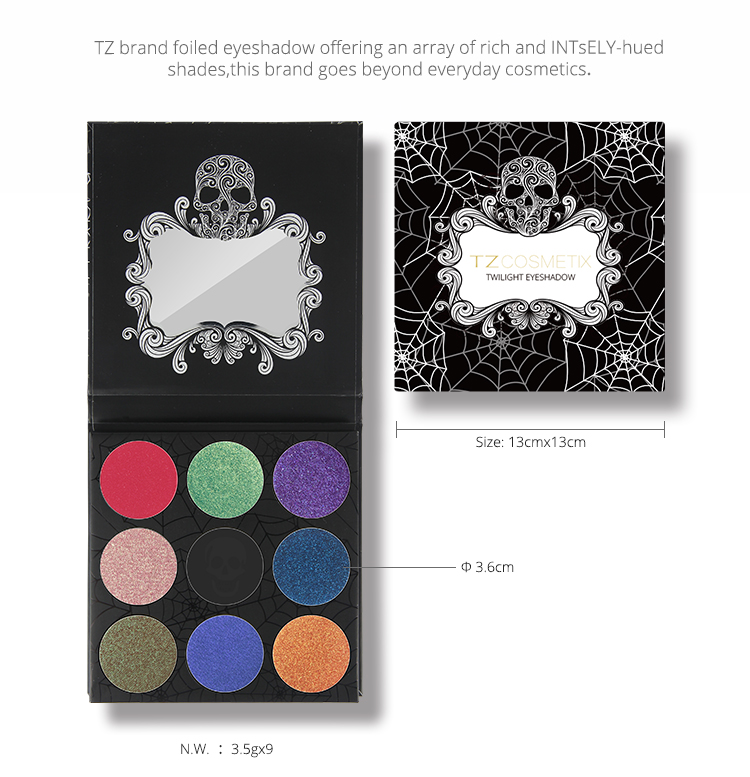 Christmas COSMETICS TZ high quality 9 color eyeshaow with paper palette