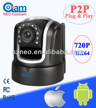 P2P Wifi H.264 720P mini indoor Night Vision network 3G wireless P2P IP Camera NEO coolcam