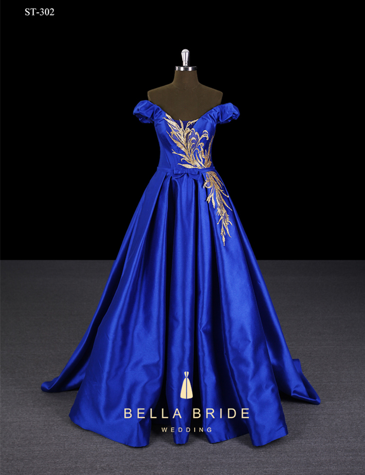 Celebrity prom dresses women evening gowns blue satin frock design elegant evening ball gown for party