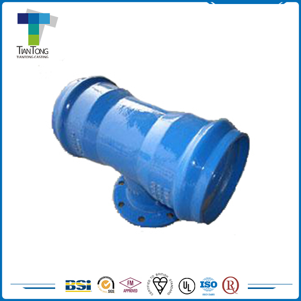 T/K Type Joint Ductile Iron Double Socket Tee PVC Fitting Pipe