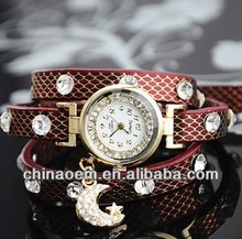 New hot Ladies Full Diamond Leather Bracelet quartz watch for women Rhinestone Moon Star Accessories dress watch lady wtach