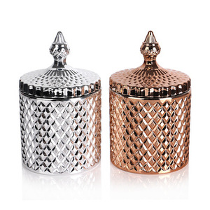luxury outer embossed classic style votive tealight glass candleholder with lid