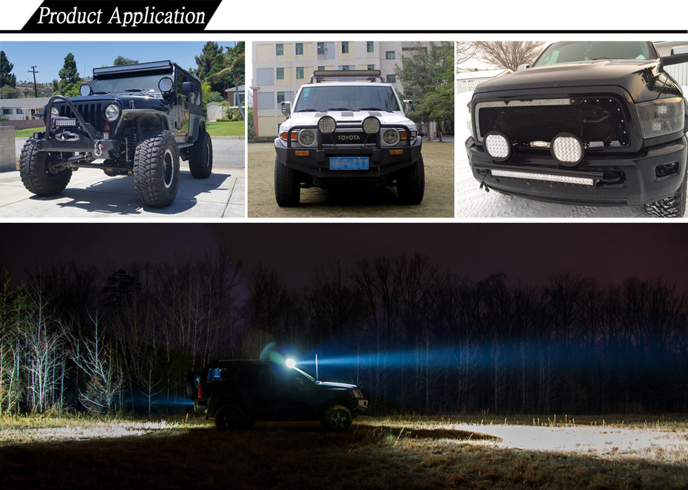 Aurora IP68 waterproof 96w car led light bar round driving light