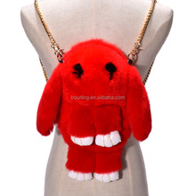 High Quality Rabbit Rex Fur Cute Adorable Backpack Shoulder Messanger Bag