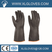 Industrial black heavy-duty rubber glove