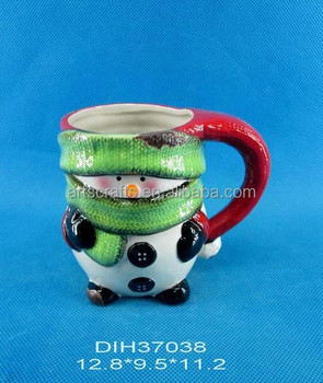 Snowman shape ceramic coffee cup