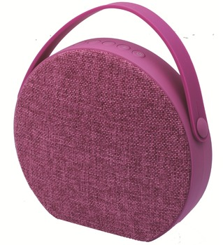 round portable wireless fabric speaker
