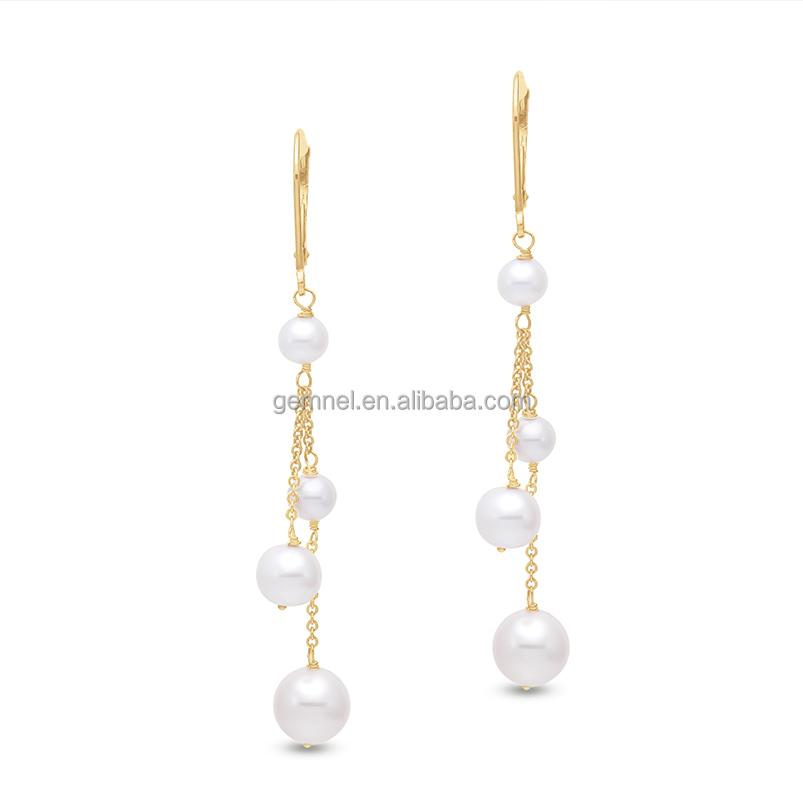 Fashion 14K yellow gold chain freshwater pearl pendant earring 2017 jewelry