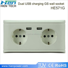 Wholesale wall outlet dimensions 2 USB wall socket outlet 5V2.1A German type