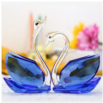 Wholesale Exquisite Cheap Blue Crystal Glass Swan For Wedding Guest Takeaway Souvenirs