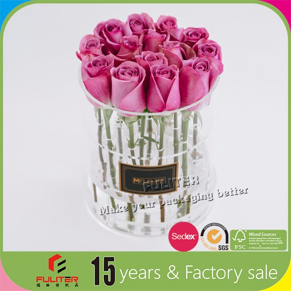 Custom clear square acrylic rose flowers display boxes