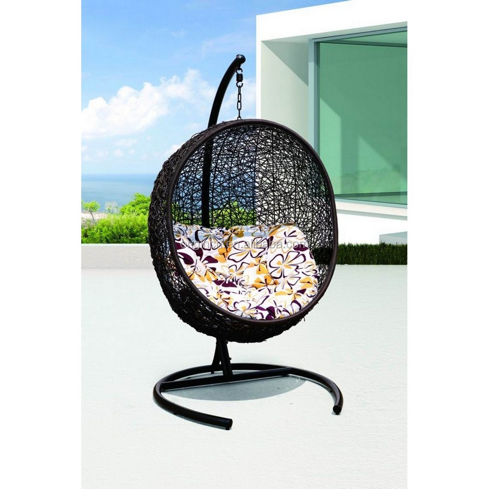 Artistic bird nest shape rattan home furniture with solid base indoor