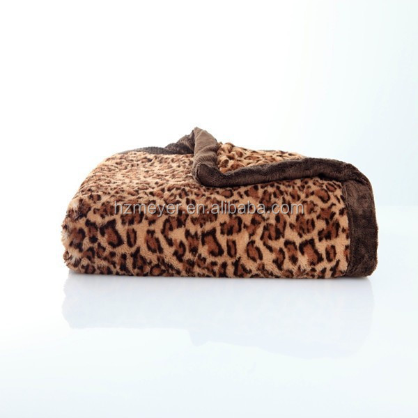 2015 Hot Warm Thick Cozy Wholesale 100% Polyester Bordered Printed Coral Fleece Leopard Blanket