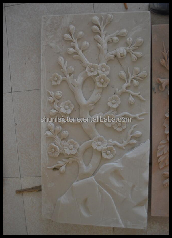 White marble flower carving marble relief sculpture