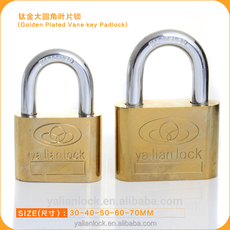 Yalian Brand Best popularTitanium Plated Big Round Corner Padlock,Long Shackle And Short Shackle Can Be Available