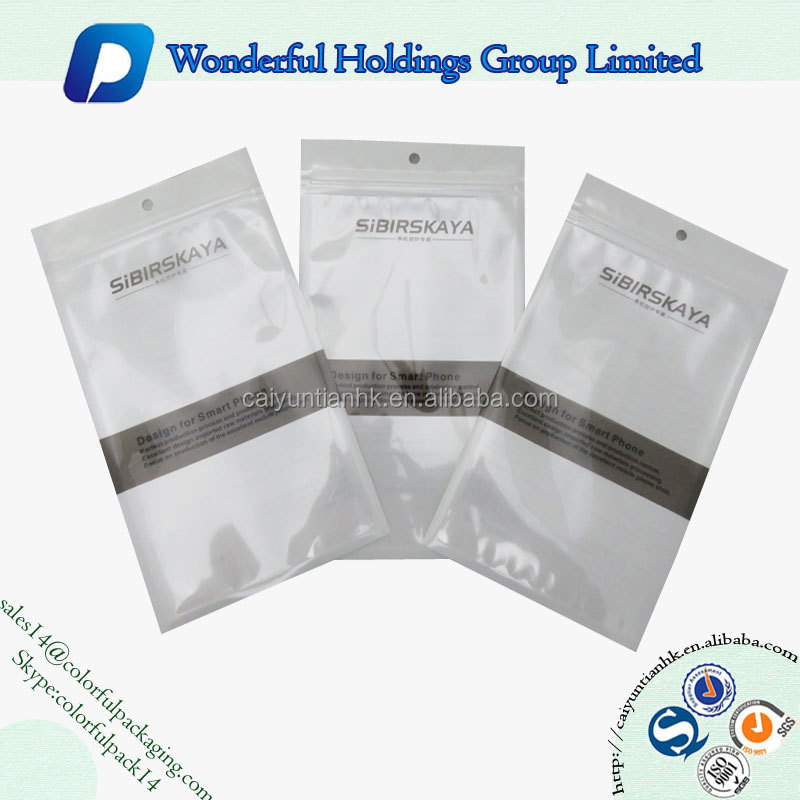 Custom made clear resealable plastic mobile phone bag phone case packaging bag with zip lock and hole
