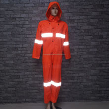 fashion polyester reflective one-piece raincoat / ladies adult waterproof raincoat suit