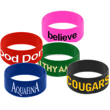 "F125 China factory low MOQ 1"" width Silicone wristband/bracelet with custom logo imprinted for promotion event"