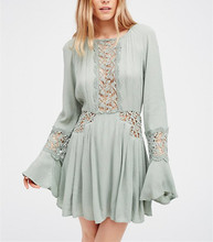 Bohemian Clothing Ladies Crochet Bell Sleeve Dress for Women HSD2537