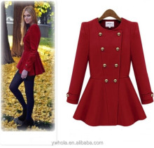 European Style Coat Fashion Warm Double Breasted Red Woolen Women Overcoat 2014