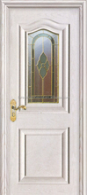 White Painted Arc Shape 2 Panel MDF Raised Molding Doors with art glass
