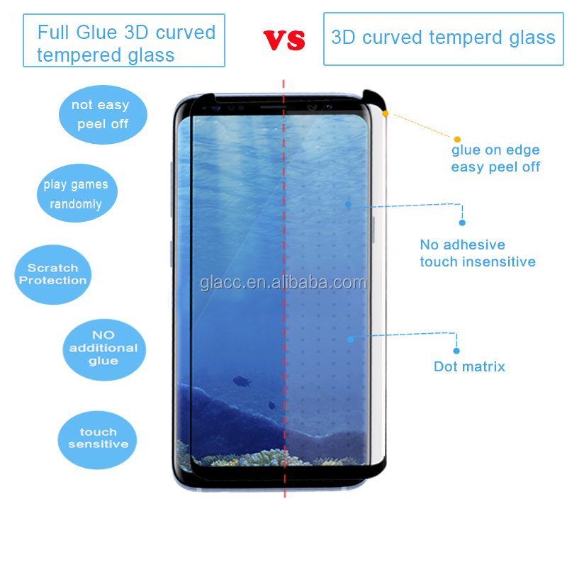 New Arrivals !High Quality Premium 3D Full Glue Tempered Glass Screen Protector For Samsung S8
