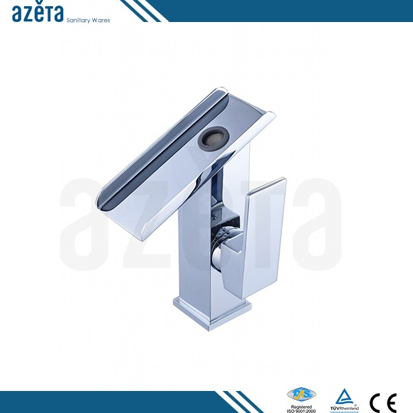 Sanitary Fittings Taps Water Pump Style Copper Brass Waterfall Bathroom Hand And Face Wash Basin Sink Faucet