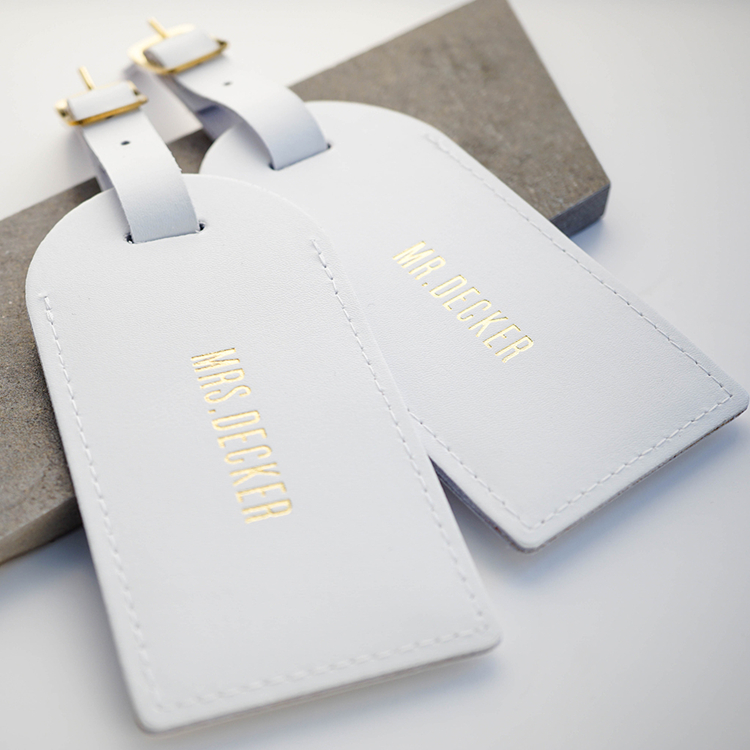 minimalist white genuine leather Luggage tag