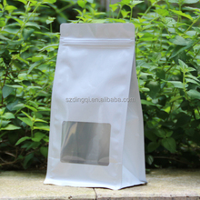 100% Food Grade Transparent Clear Window OPP BOPP Plastic Square Block Flat Bottom Pouch Bag with Zipper