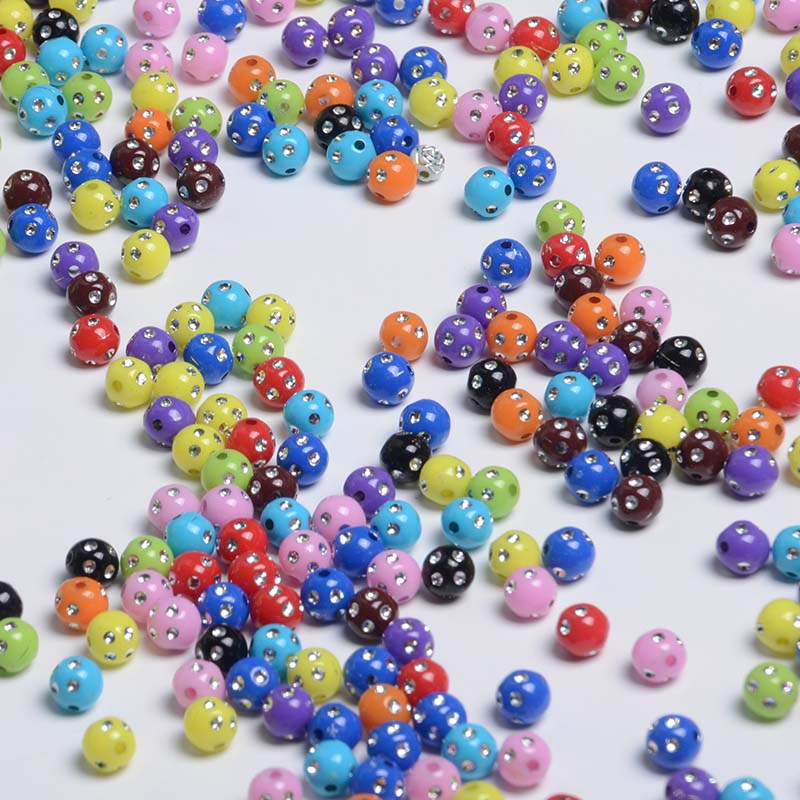 Hotselling Mix Colors Bulk Loose 8MM Acrylic Rhinestone Diamond Bling Beads for Prayer Beads Rosary YIWU Factory