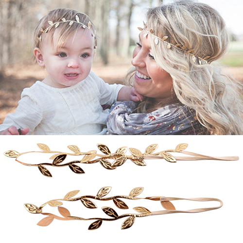 Mommy and Me headbabd set Gold Silver Leaf Headband Hair accessories Baby Girl Cute Leaves Infant hairband