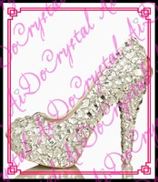 Aidocrystal top selling patent leather glitter diamond studded mid pump heels bridal shoes uk
