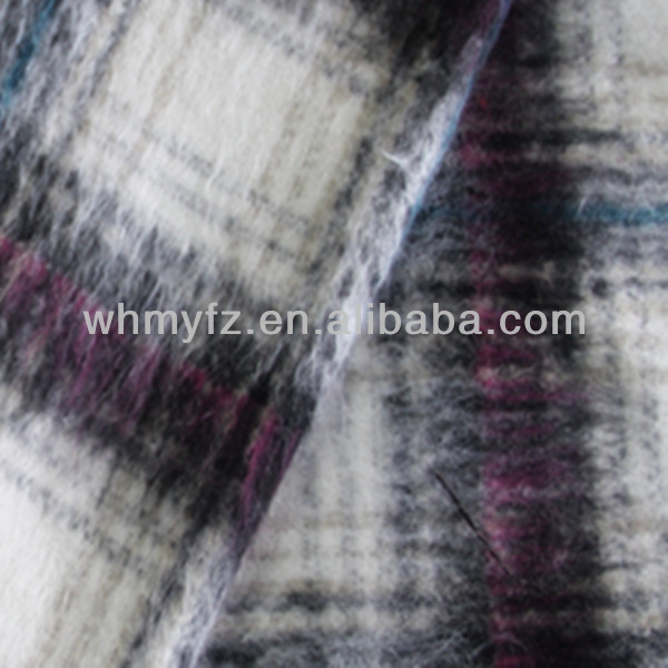cut velvet purple and white plaid fabric for lady fashion