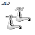 Deck Mount Cloakroom Basin Faucet Twin Pillar Cross Handle Basin Taps in Chrome Finish