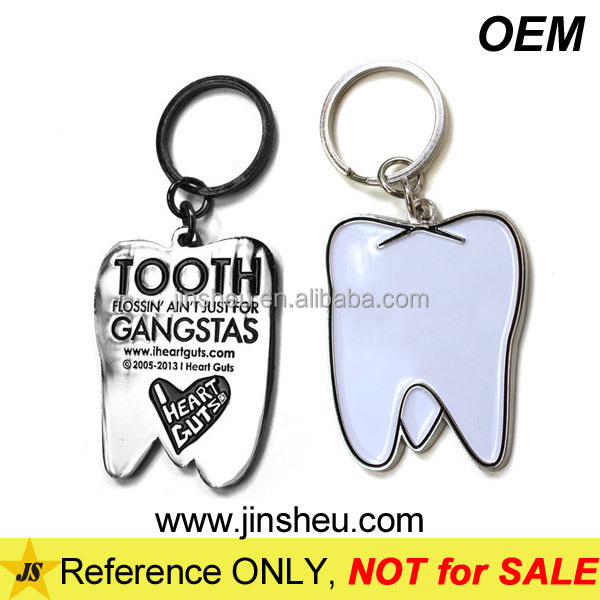 Manufacturer Cheap Custom Metal Stamping Enamel Tooth Keychain