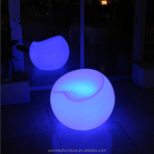 Outdoor furniture rechargeable RGB plastic bar chair illuminated stool coffee chair with 16 colors changing