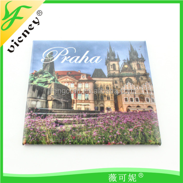 Custom made metal tin magnetic fridge / souvenir tin fridge magnet / Travel souvenir tinplate magnets for Praha design