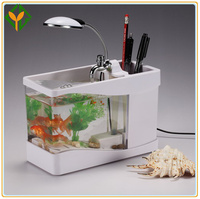 Mini USB Desktop Aquarium,black and white fish tank
