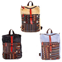 Ladies Canvas Retro Vintage Large School Backpack Woman bag