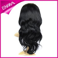 Enoya wholesale glueless lace wig long-lasting wavy 18 inch peruvian hair lace wig